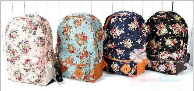 girl lady Fashion Vintage Cute Flower School Book Campus Bag Backpack