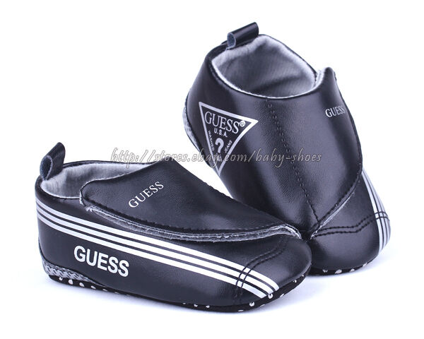 Baby Boy Black Soft Sole Crib Shoes Toddler Sneaker Size Newborn to 18