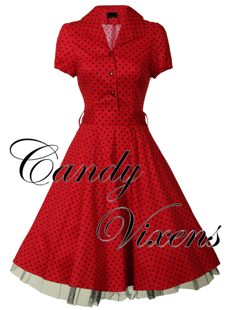 83db47006d PIN UP VTG 40S 50S RED ROCKABILLY PROM PARTY POLKA DOT SWING DRESS ...