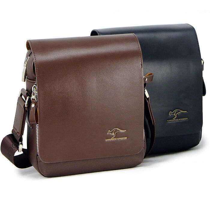 KANGAROO Men fashion small black brown leather shoulder bag Briefcase