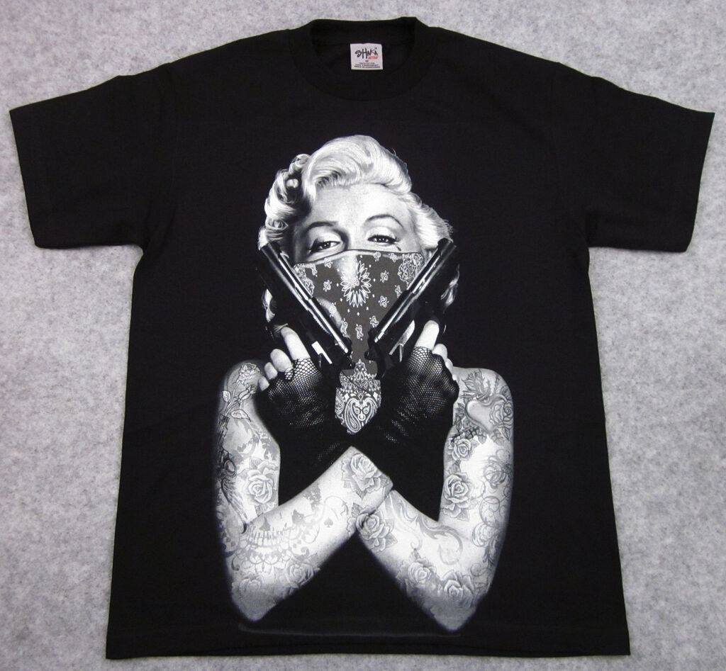 MARILYN MONROE T shirt Tattoo Bandit Tee Guns Adult Big&Tall XL,2XL