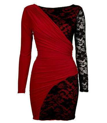 Drape And Lace Detail Bodycon Dress with Red Lining in RED/BLACK ,S/M