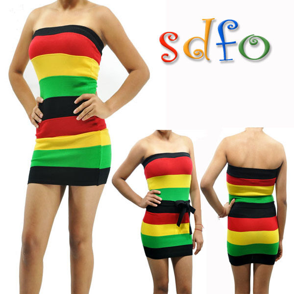 New Sexy Rasta Empress Strapless Bandage Fitted Pencil Tube Dress SML