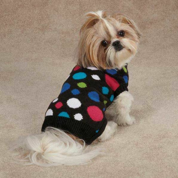 East Side Collection Electric Knit Polka Dots Dog Sweater Pet Dog