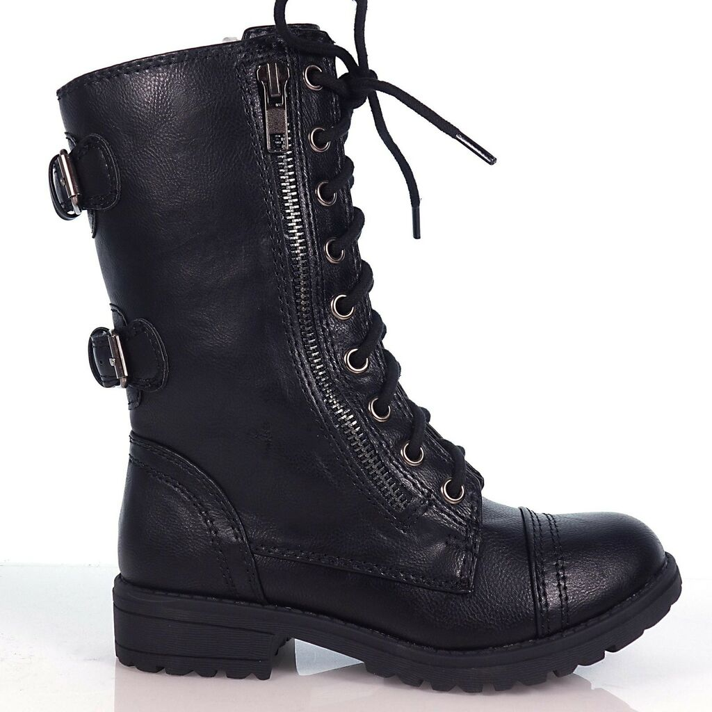 Children Lace Up Military Combat Boots YOUNG GIRL KIDS soda shoes