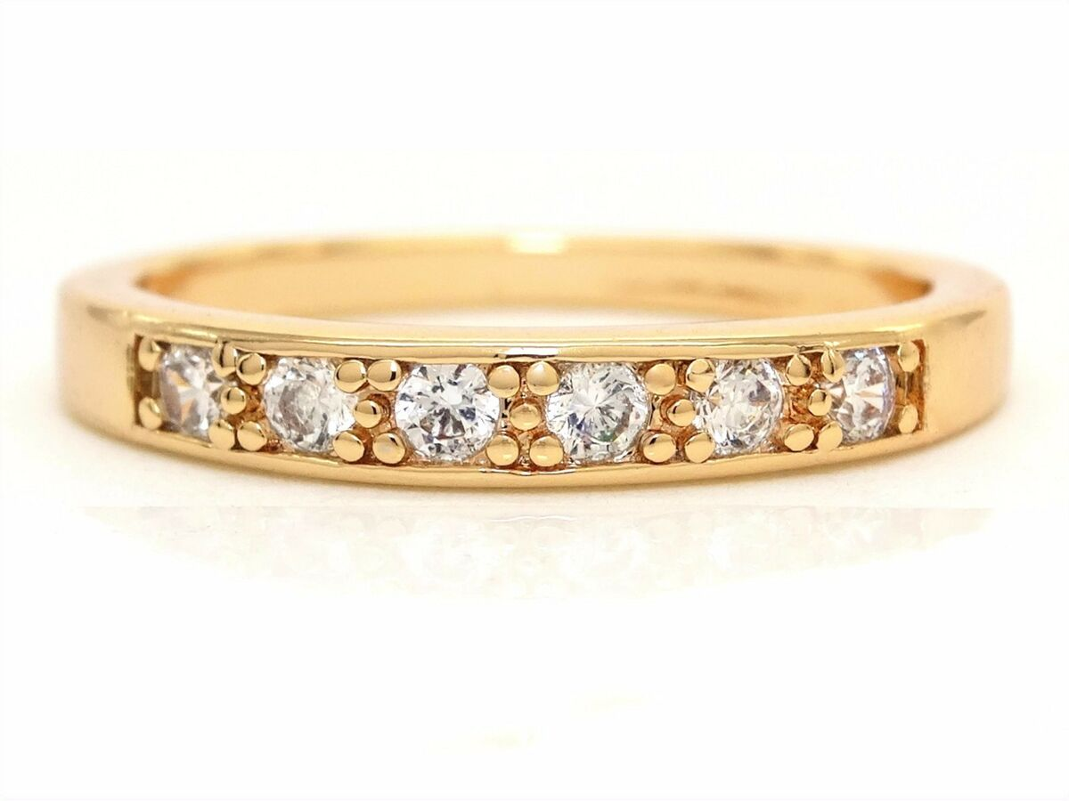 Classic 18ct yellow gold plated ring six clear round gems black ring gift box 