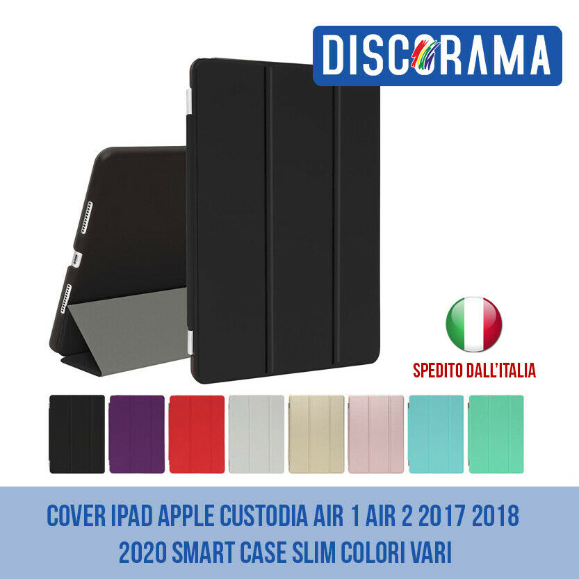 Cover ipad apple custodia air 1 e air 2 2017 2018 smart case slim colori vari 