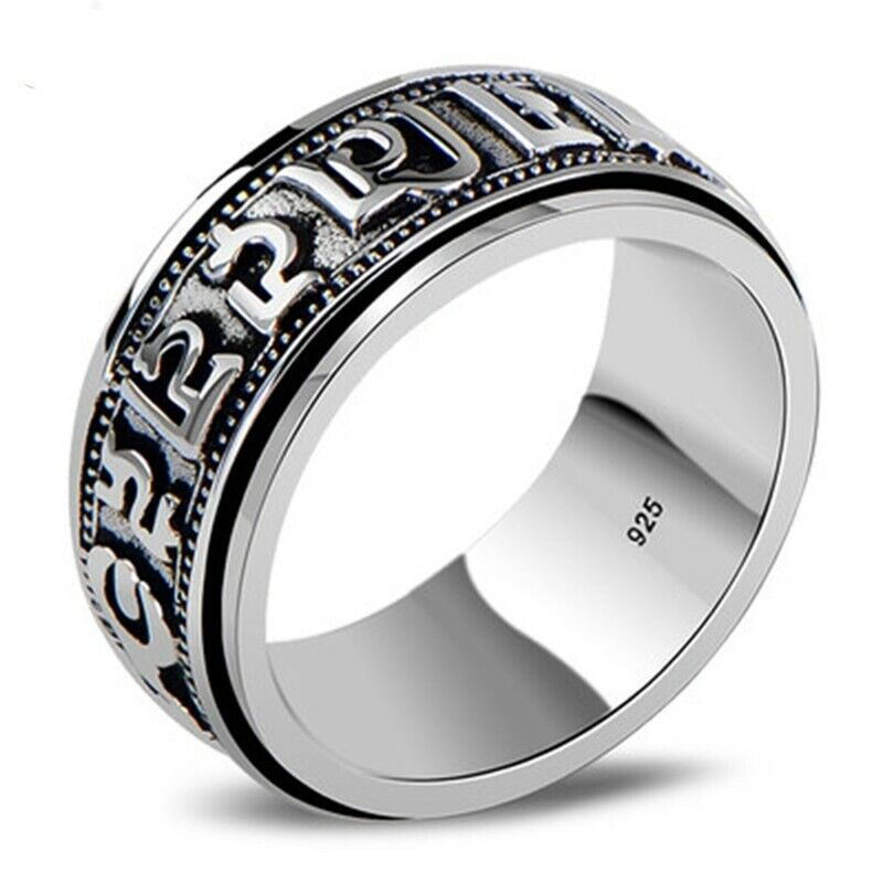 Men 925 sterling silver spinner ring vintage six words mantra om signet jewelry 