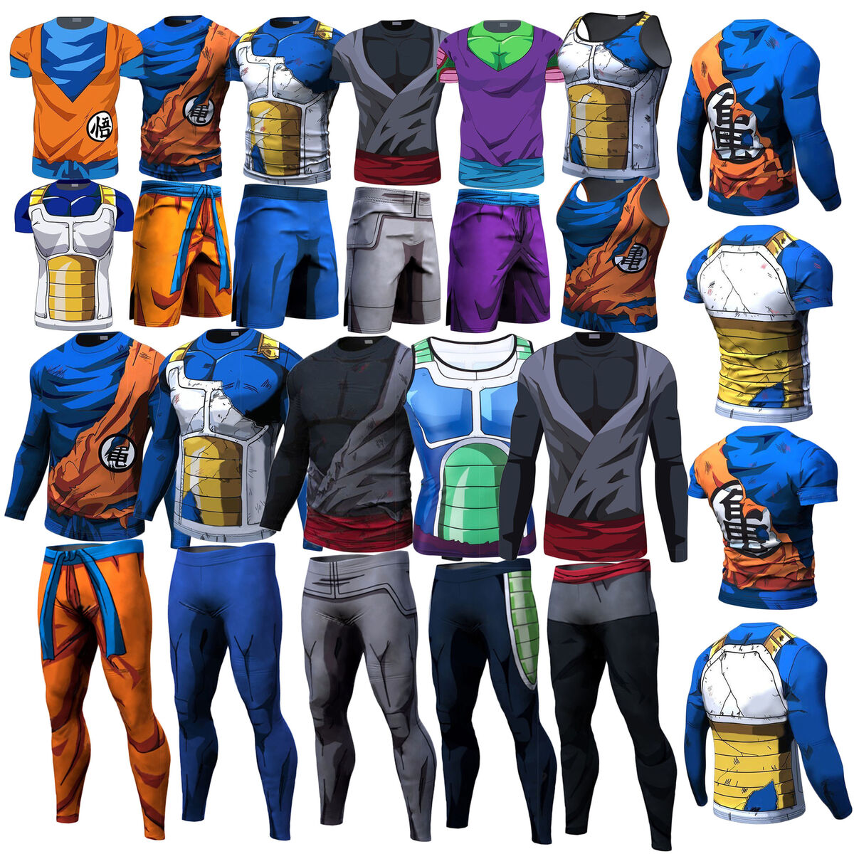Men top tee dragon ball z son goku vegeta sport t shirt short long pants cycling 