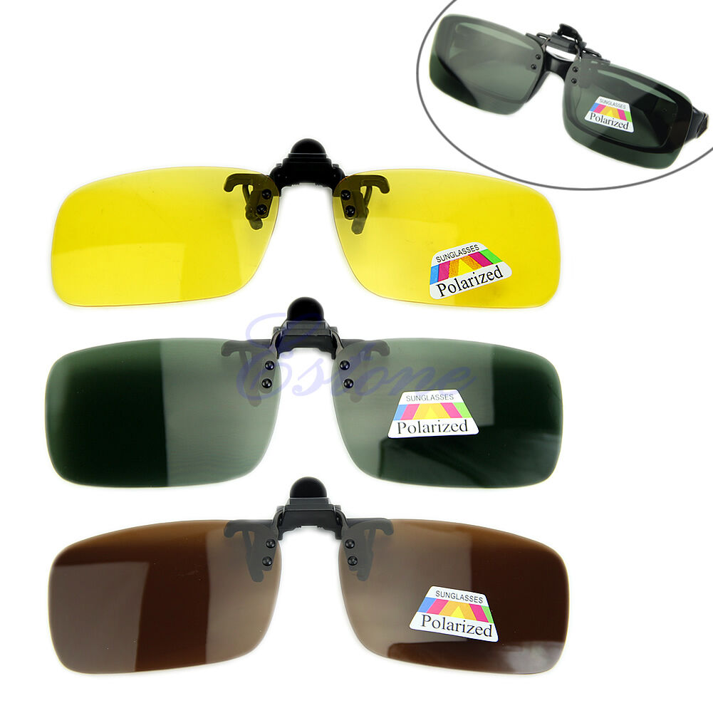 Polarized day night vision flip up clip on lens sunglasses driving glasses