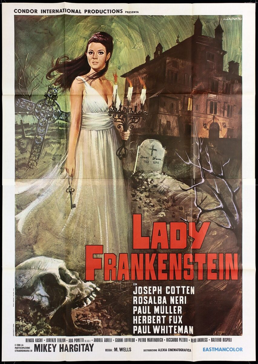 Lady frankenstein manifesto cinema joseph cotten horror 1970 movie poster 4f 