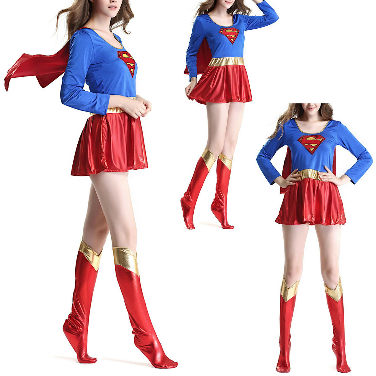 Super girl vestito carnevale donna supergirl woman cosplay costume 