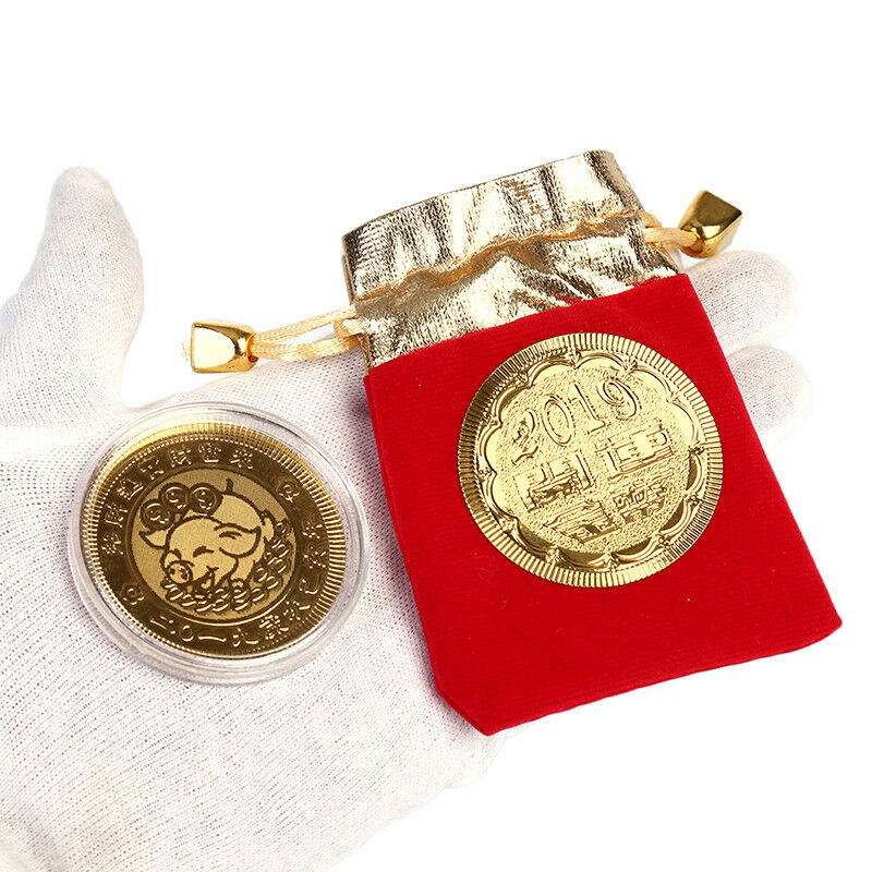 Gold pigcommemorative coin year of pig coins new year gift with drawstring bagpb 
