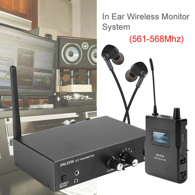 Anleon s2 uhf stereo monitor system in ear stage cuffie personali 561 568mhz 