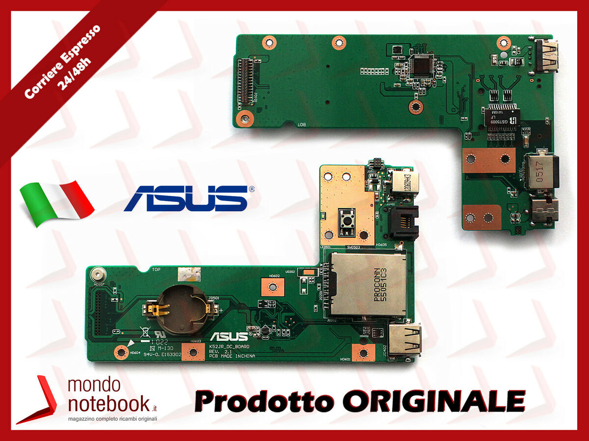Dc power jack switch board scheda connettore alimentazione originale asus a52jc 