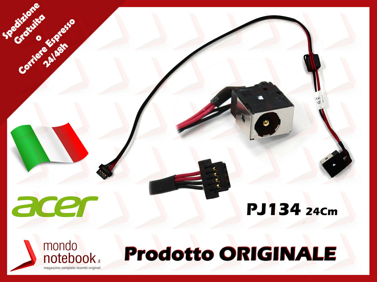 Connettore alimentazione dc power jack pj134 1 65mm 24cm acer aspire one kav60 