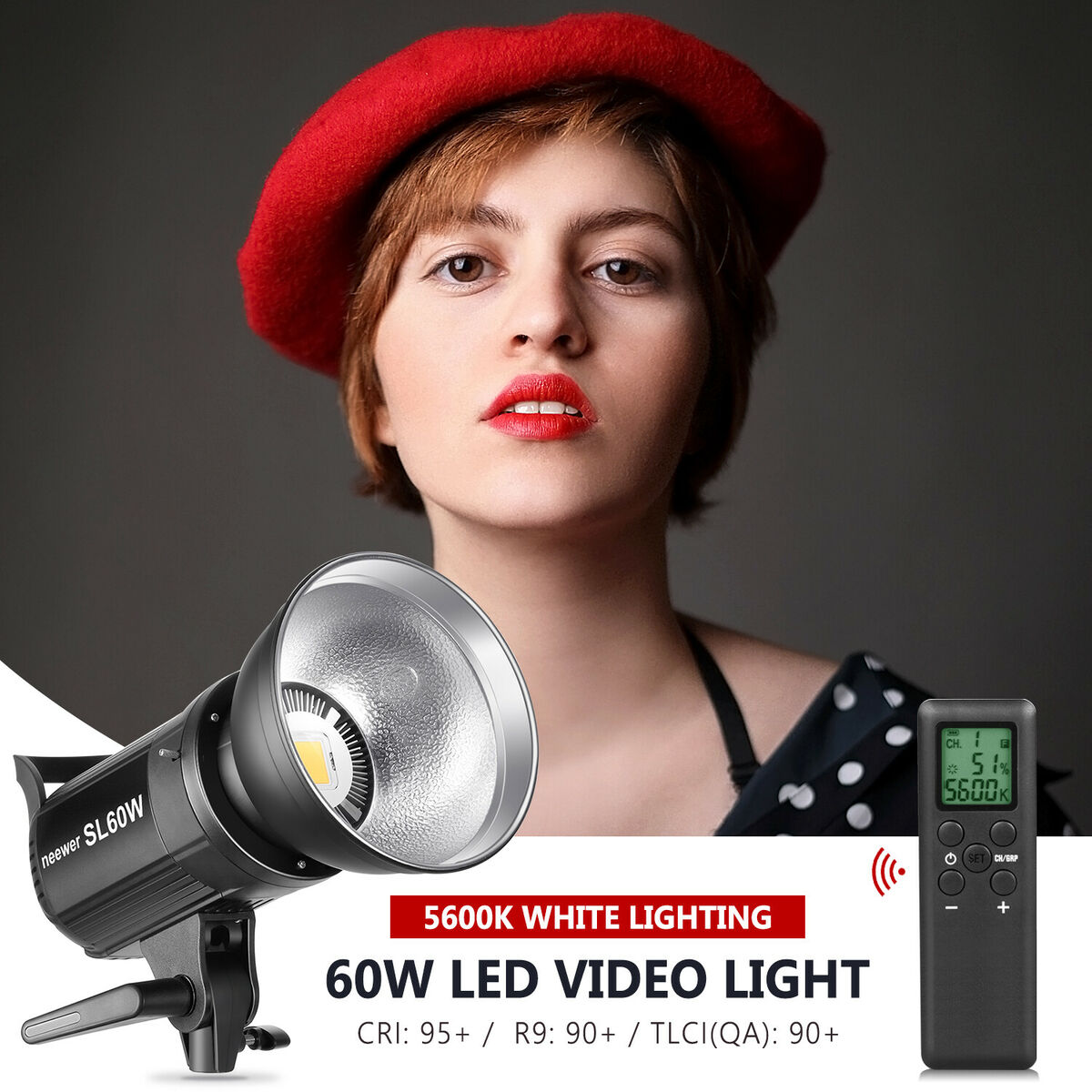 Sl 60w led video light bianco 5600k cri 95 con telecomando e riflettore 
