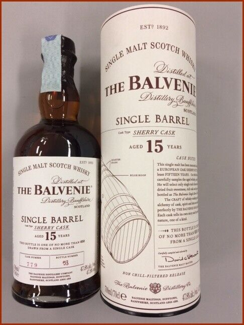 The balvenie 15 y single barrel sherry cask n 779 whisky non chill filtered 