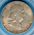 1952 FRANKLIN HALF DOLLAR PCGS MS66FBL  EXCEPTIONAL SURFACES ATTRACTIVE TONE