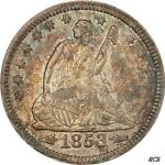 1853 ARROWS AND RAYS SEATED LIBERTY QUARTER PCGS AU 58 CERT  80430003 TRUEVIEW