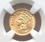 1874 NGC MS61 $1 ONE DOLLAR GOLD LIBERTY PRINCESS TYPE 3 LARGE HEAD TYPE COIN