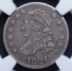 NGC VF20 LARGE DATE 1821 BUST DIME