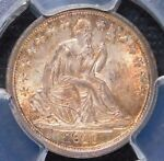 CAC1838 PCGS MS64  NO DRAPERY LARGE STARS LIBERTY SEATED DIME