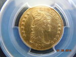 1807 DRAPED BUST 5.00 GOLD HALF EAGLE PCGS GRADED UNC DETAILS  MINT LUSTER