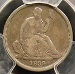 PCGS VF25 NO STARS 1838 O SEATED DIME