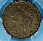 1834 CLASSIC HEAD HALF CENT PCGS XF40  NICE PATINA SURFACES EYE APPEAL