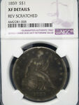 1859 SEATED LIBERTY SILVER DOLLAR NGC XF DETAILS