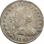 1795 $1 DRAPED BUST BUST SMALL EAGLE SILVER DOLLAR PCGS F12 EVEN WEAR AND COLOR
