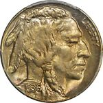 1936 S 5C BUFFALO NICKEL PCGS MS 66 GREAT LUSTER AND ORIGINAL COLOR