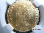 1807 DRAPED BUST 5.00 GOLD HALF EAGLE NGC UNC DETAILS MINT LUSTER  207YRS OLD
