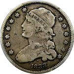 1833 25C PCGS F15 CAPPED BUST QUARTER   CHOICE ORIGINAL KEY DATE