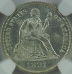1891 LIBERTY SEATED DIME MS64 PROOF LIKE NGC