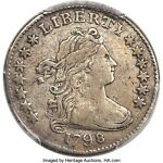 1798 DRAPED BUST 10C SMALL 8 JR 3 HIGH R. 5  PCGS VF DETAILS LOW MINTAGE