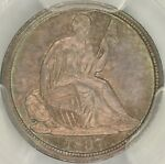 1837 NO STARS LARGE DATE SEATED HALF DIME PCGS MS66 CAC