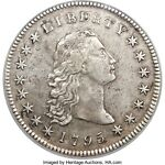 1795 FLOWING HAIR DOLLAR  SILVER PLUG VARIETY NGC AU DETAIL BB 18 B 7