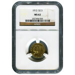 CERTIFIED US GOLD $2.5 INDIAN 1913 MS62 NGC