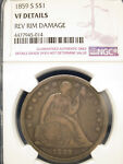 1859 S SEATED LIBERTY SILVER $1 DOLLAR NGC VF DETAILS