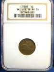 1858 FLYING EAGLE CENT 1C SMALL LETTER AU55 NGC