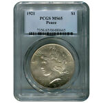 CERTIFIED PEACE SILVER DOLLAR 1921 MS65 PCGS