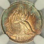 1837 NO STARS SMALL DATE SEATED LIBERTY HALF DIME NGC MS65