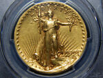 1907 $20 HIGH RELIEF WIRE RIM ST. GAUDENS DOUBLE EAGLE AU DET. PCGS NICE