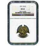 CERTIFIED US GOLD $2.5 INDIAN 1911 MS62 NGC
