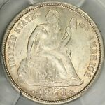 1873 S ARROWS SEATED DIME PCGS MS63
