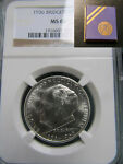 1936 NGC MS66 BRIDGEPORT SILVER CLASSIC COMMEMORATIVE WITH ORIGINAL HOLDER BOX