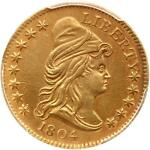 1804 DRAPED BUST 2 1/2 GOLD QUARTER EAGLE 14 STAR NGC AU DETAIL BD 2 R 4
