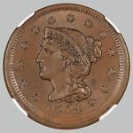 1854 1C NEWCOMB 11 BN BRAIDED HAIR CENT NGC MS63 USED BY NGC WEBSITE R.2